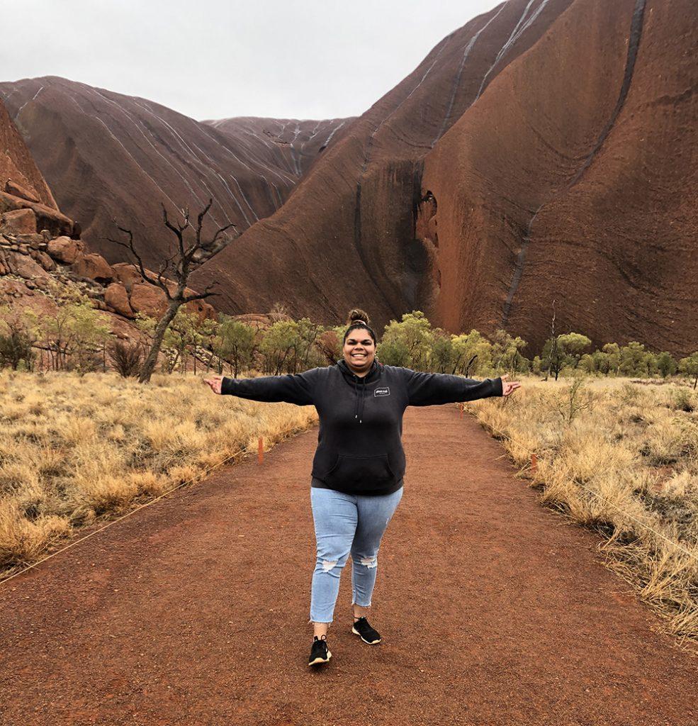 EyrePlus participant Stephanie in Uluru.